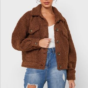 Forever 21 Contemporary Brown Oversized Cropped Bubble Sleeve Teddy Jacket L